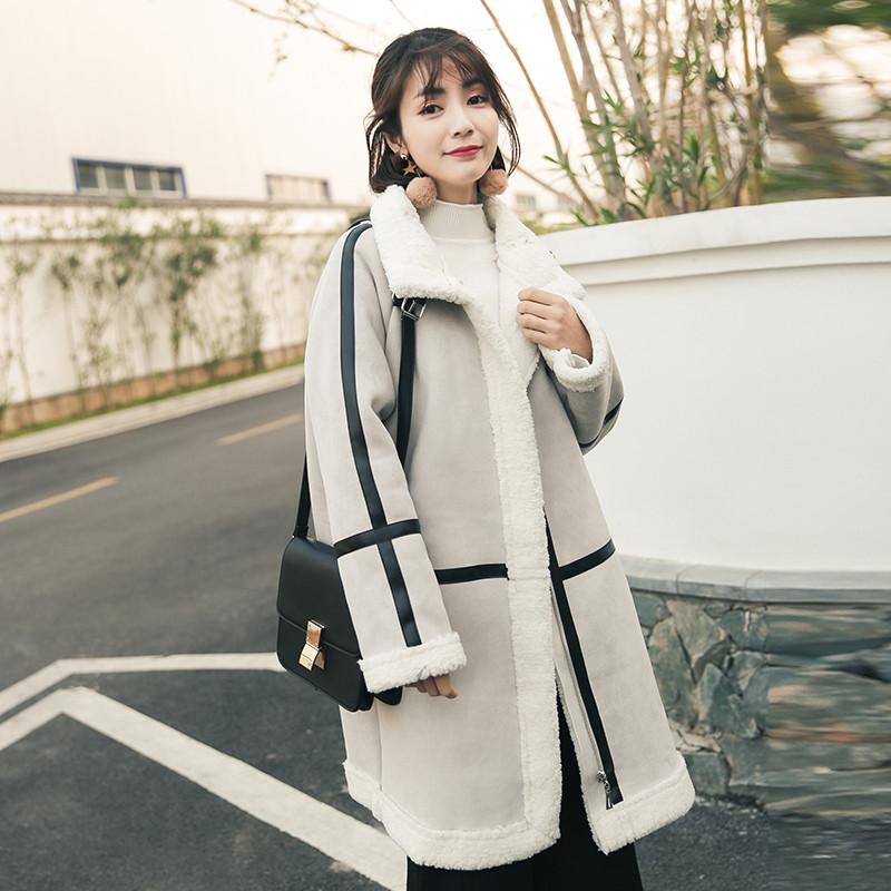 2017新款棉服中长款冬季羊羔毛外套女棉衣鹿皮绒韩版chic百搭棉袄