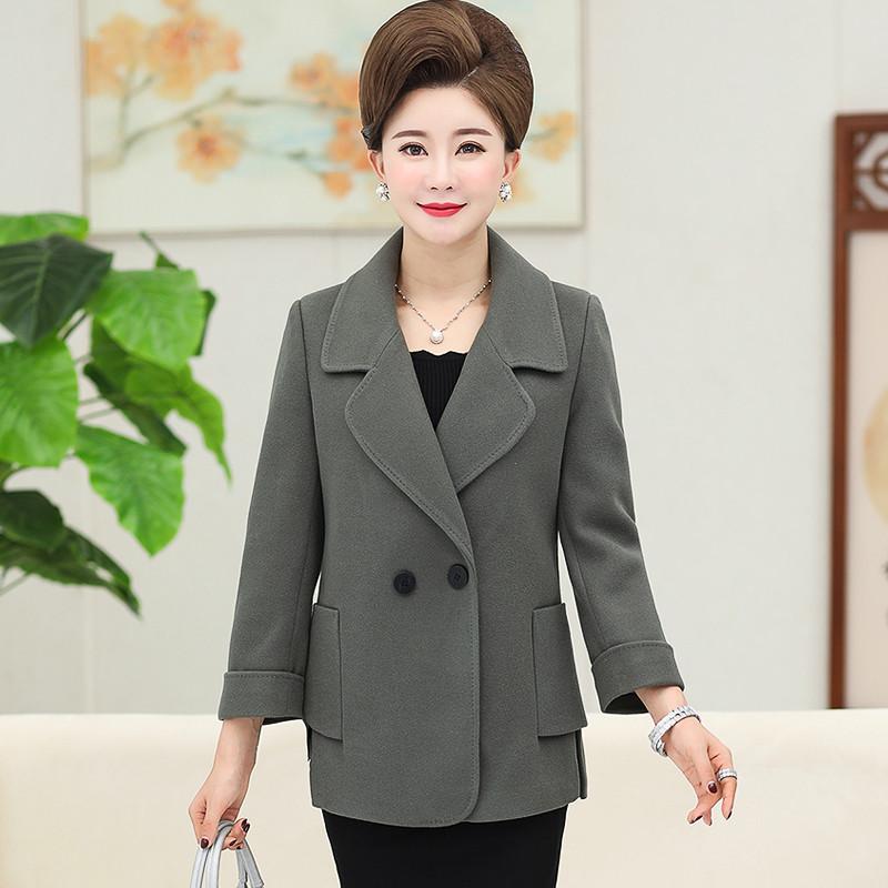 中老年女装秋冬毛呢外套加厚羊绒大衣妈妈装短款长袖上衣40-50岁图片