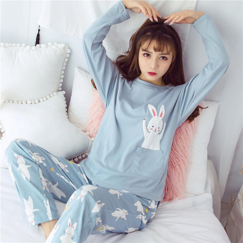622款秋季少女可爱睡衣全棉长袖套装韩版公主风清新宽松甜美学生家居