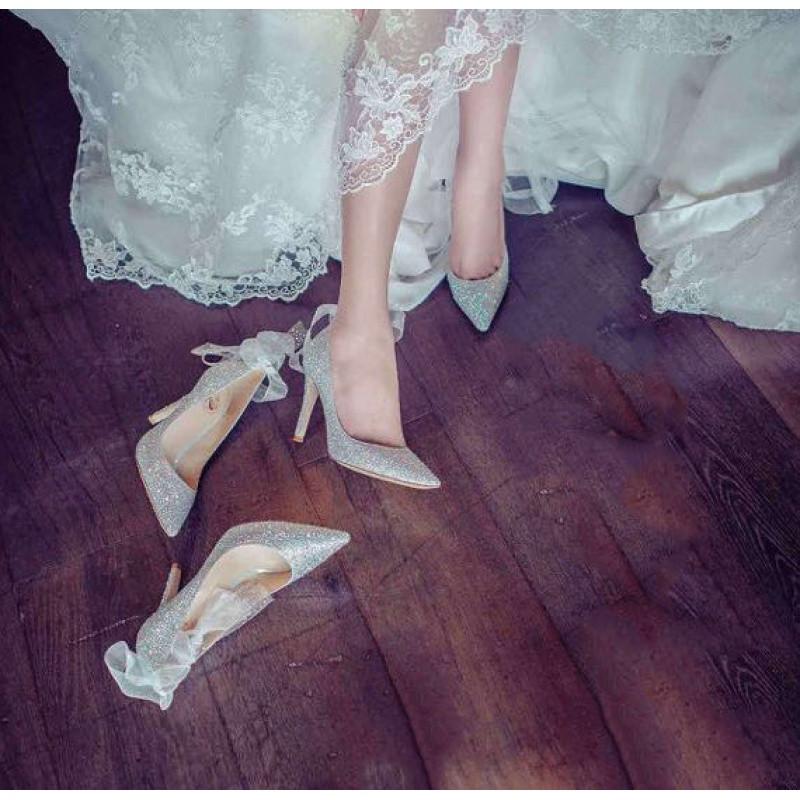 好先生甘敬同款水晶银色婚鞋婚礼高跟鞋尖头婚纱细跟水钻新娘鞋女mrs