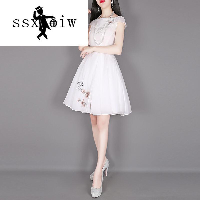 ssxoiw甜美可爱公主裙白裙子短袖雪纺连衣裙女夏气质仙女裙a字蓬蓬裙