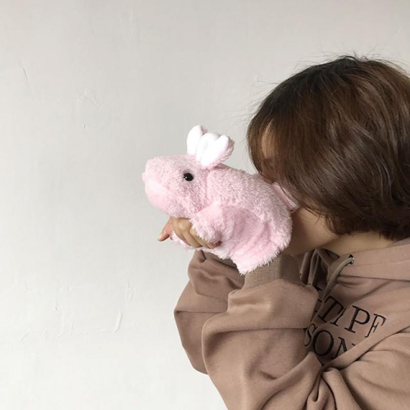 新款韩国可爱毛绒小兔子学生原宿卡通软妹萌冬季男女保暖加绒半指手套