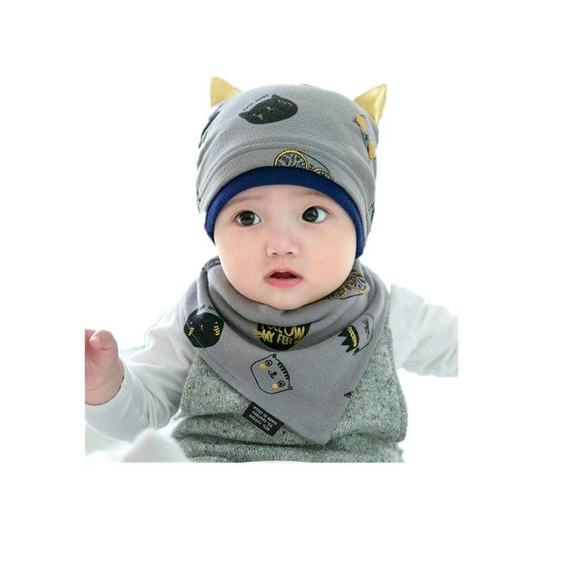 新款宝宝帽子3-6-12个月秋季男女童婴儿帽子纯棉套头帽冬天保暖三角巾