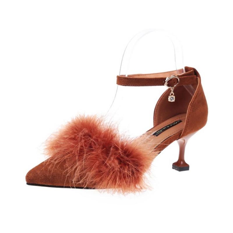 新款高跟鞋女夏秋2017新款韩版3-5厘米细跟尖头一字带单鞋猫跟毛毛鞋