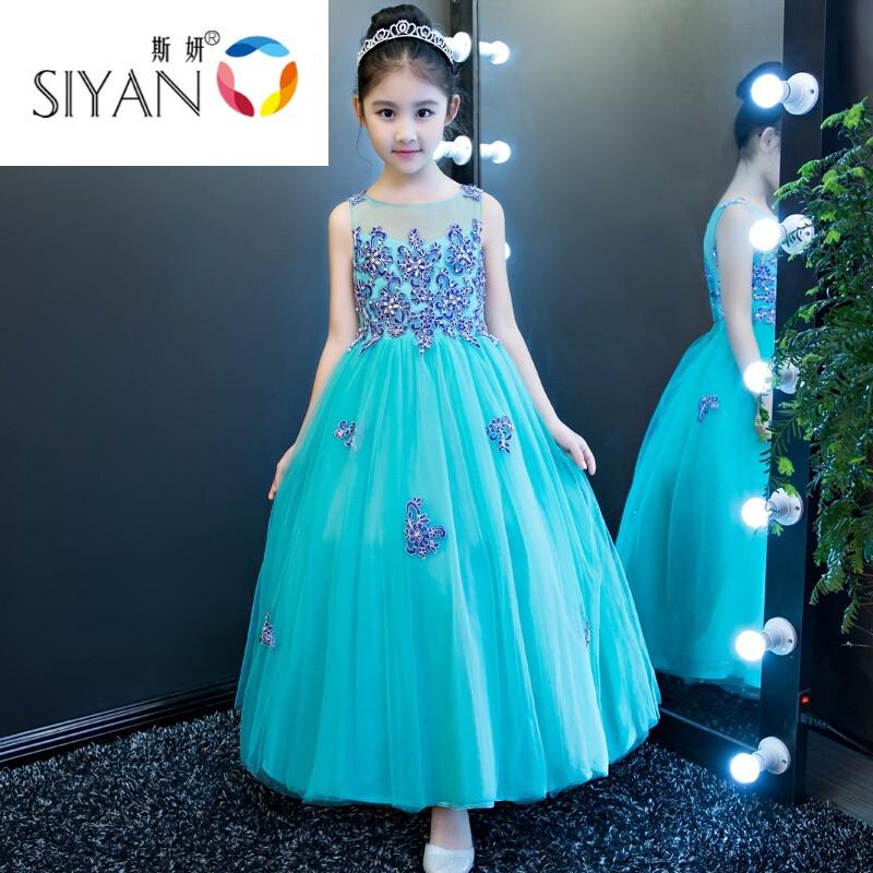 爱拥者女童礼服公主裙婚纱长袖花童裙儿童走秀主持钢琴演出服中大童图片