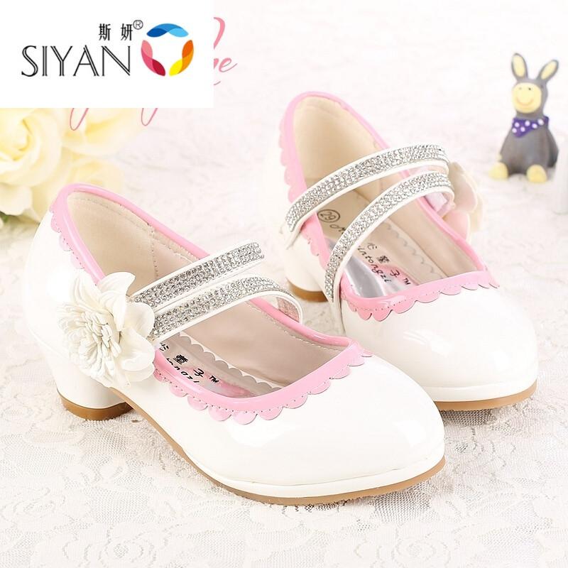 爱拥者春秋女童高跟鞋儿童单鞋韩版公主鞋水晶鞋白色皮鞋学生鞋白色
