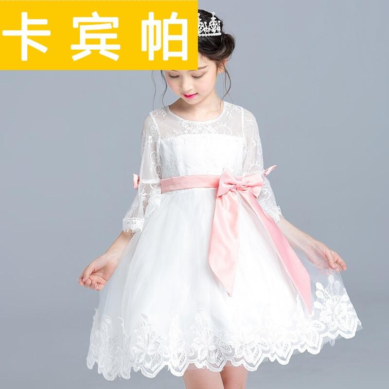 童装女白色公主裙女童蕾丝连衣裙夏季主持人礼服儿童婚纱裙白色