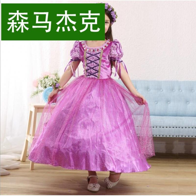 外贸公主童装 长发公主裙夏季索菲亚女童连衣裙礼服童裙一件代发