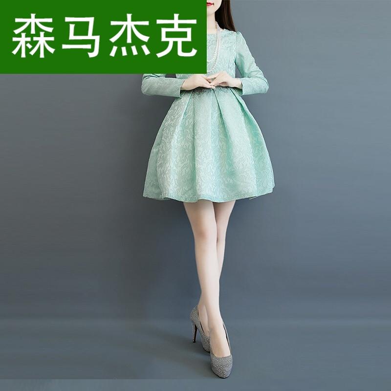 森马杰克名媛七分袖公主裙蓬蓬裙高腰a字连衣裙女夏小图片
