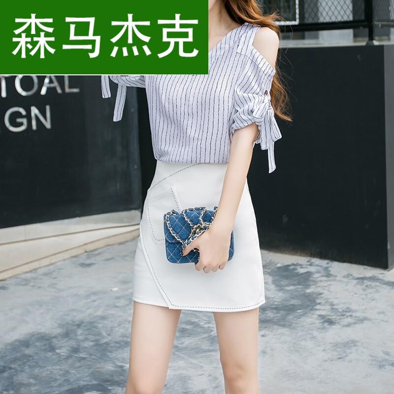 森马杰克夏季套装女时尚两件套2017新款秋夏韩版女装上衣条纹套裙包臀图片