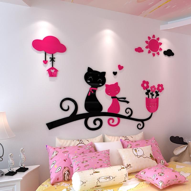 舒厅 卡通3d立体亚克力墙贴爱情猫咪幼儿园儿童房卧室