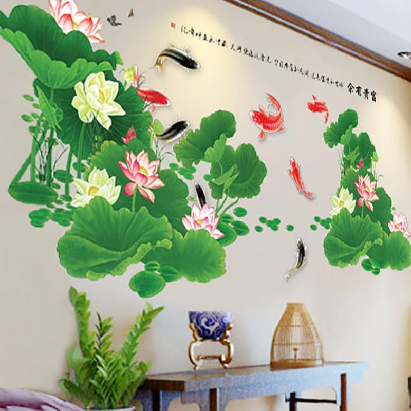 荷塘风景沙发背景墙温馨墙贴客厅餐厅壁纸卧室荷花贴纸影视墙贴画