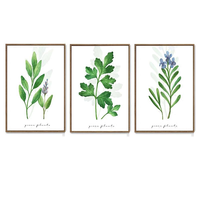 舒厅创意家居 简约手绘绿植花卉装饰画小清新有框画客厅沙发背景墙