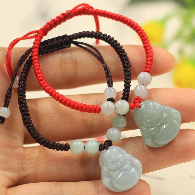 天然缅甸翡翠玉弥勒佛手链女款手串纯手工编织玉饰品