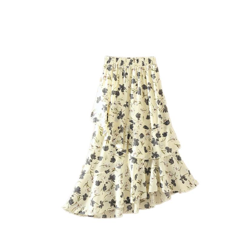 qmfs新款雪紡碎花半身裙2017夏季女裙不規則魚尾裙中長款顯瘦荷葉邊a圖片