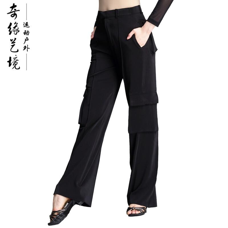 拉丁芭蕾舞蹈用品新款拉丁口袋裤女男舞裤成人摩登舞跳舞裤黑国标舞图片