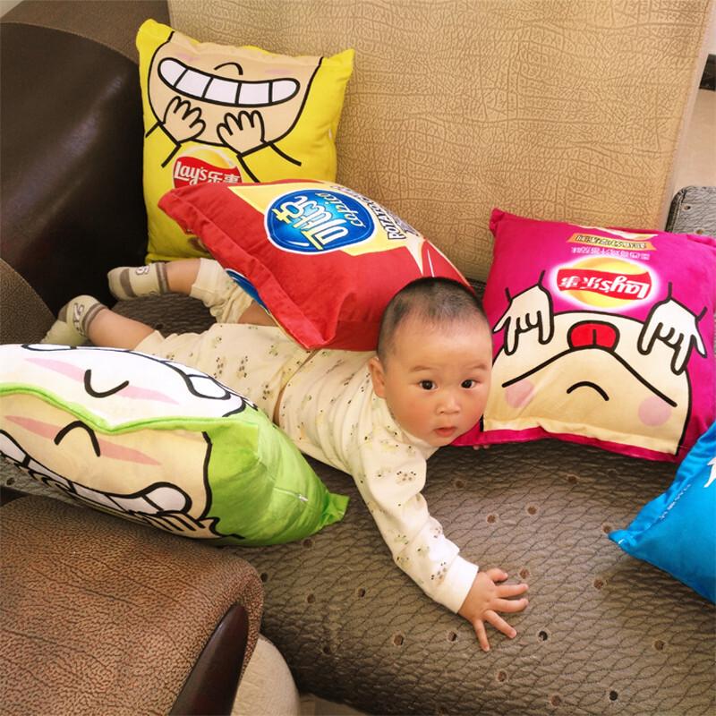 创意3d仿真整蛊恶搞吃货零食抱枕空调被两用靠枕腰靠靠垫礼物