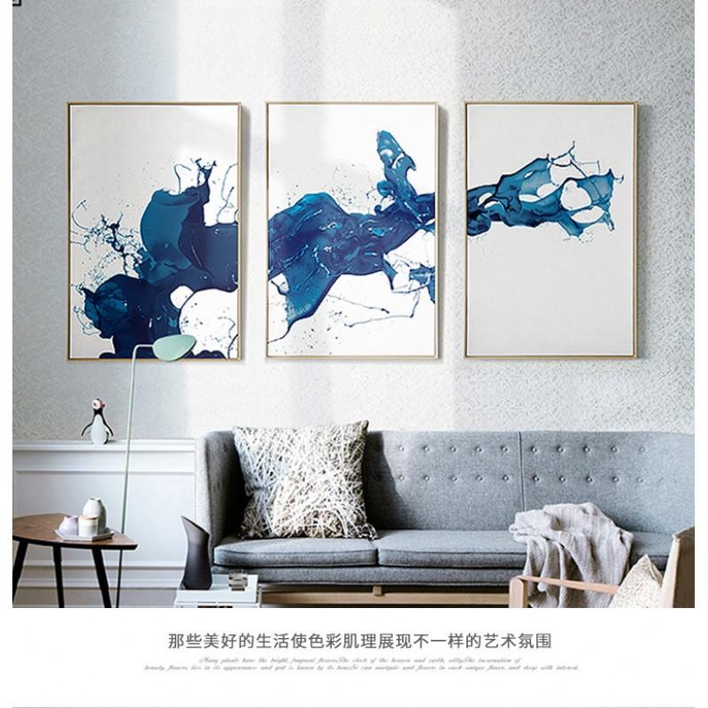 现代抽象客厅装饰画客厅卧室墙画挂画墨迹简约黑白壁画北欧三联画