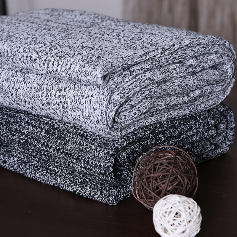 北欧纯棉手工针织毛线毯沙发巾盖毯孕婴午睡毯子披肩
