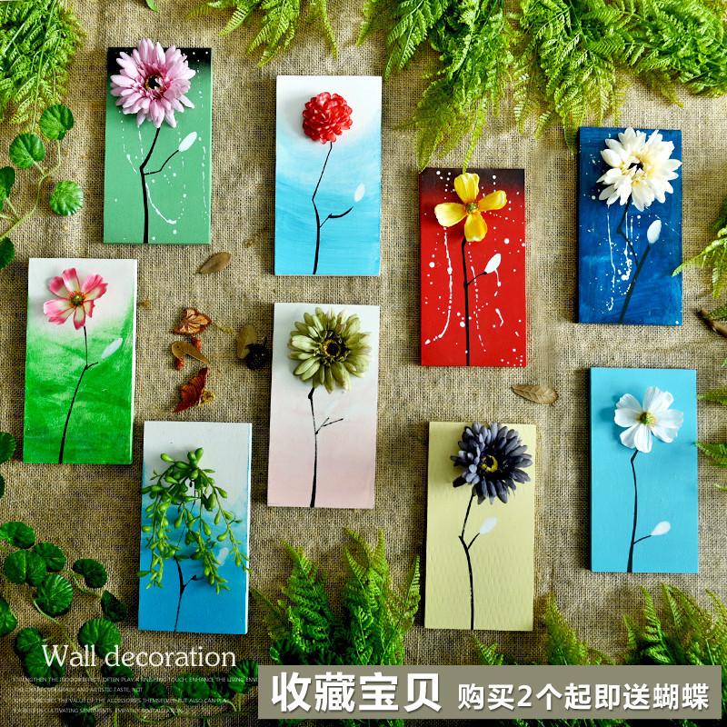 乡村木板手绘花语创意背景墙上装饰品卧室房间壁饰组合绿植挂件
