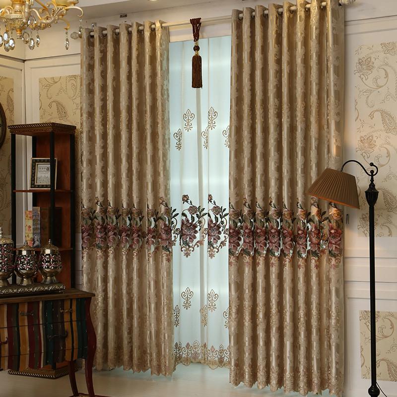 欧式窗帘遮光落地窗客厅带纱双层平面窗卧室凸窗小窗户