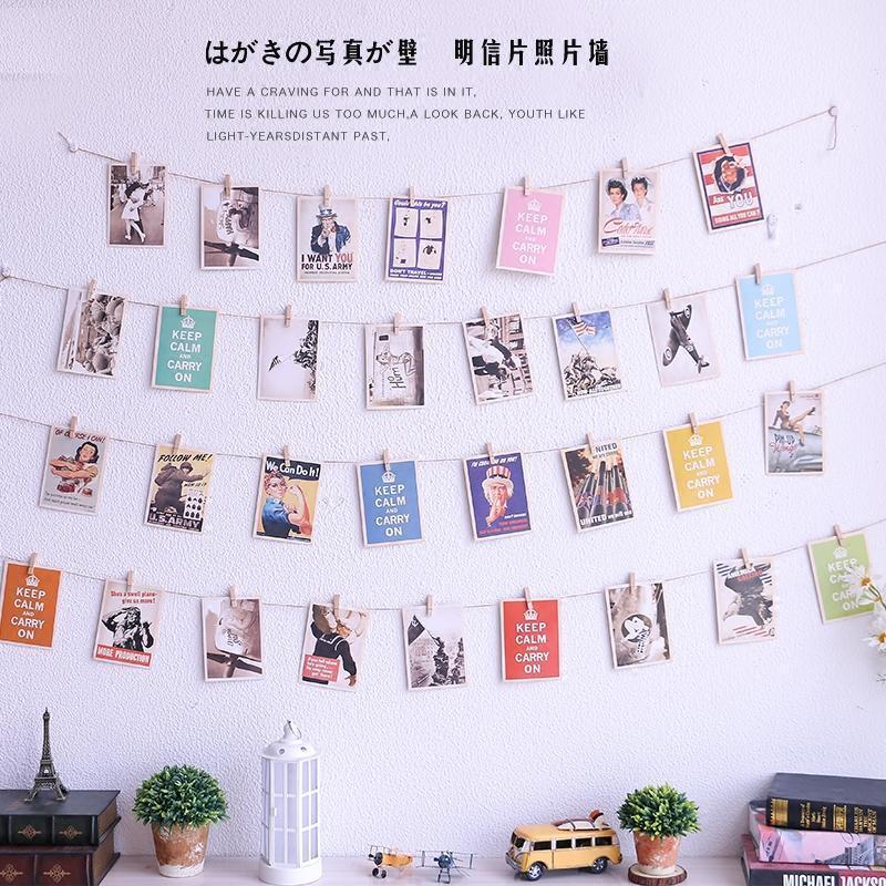 创意复古装饰明信片麻绳夹子卧室背景墙面壁饰挂饰咖啡店铺照片墙