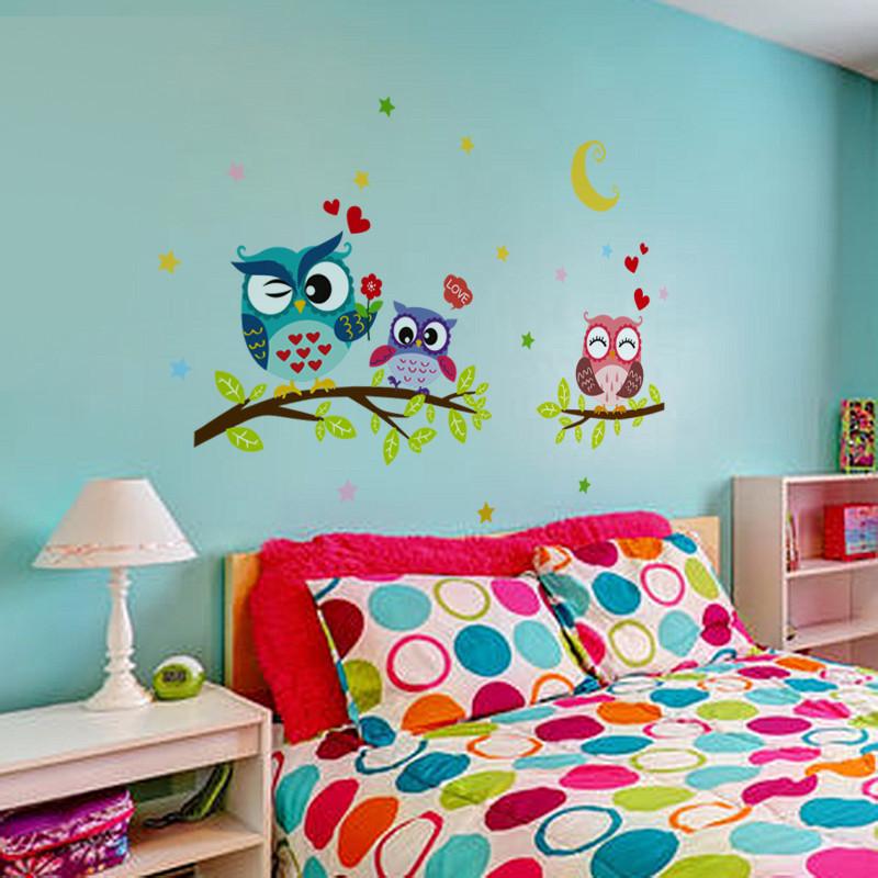 可移除墙贴纸贴画可爱猫头鹰卡通儿童房间卧室幼儿园教室装饰布置