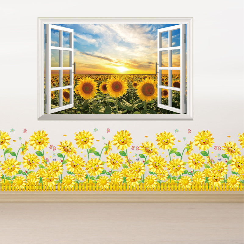 田园风景画创意墙壁纸墙贴纸装饰客厅卧室3d立体假窗户贴画向日葵