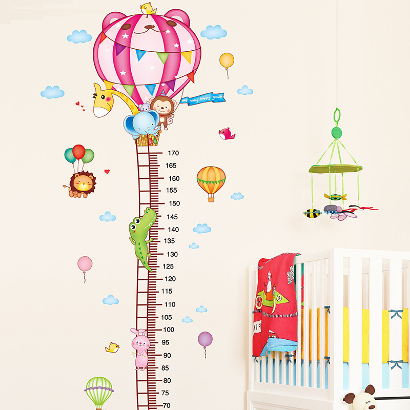 墙贴纸贴画幼儿园儿童房间墙壁装饰品卡通热气球测量身高贴可移除