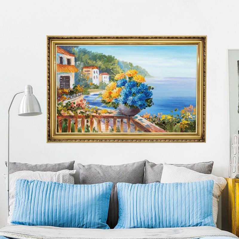 臥室沙發背景墻風景畫墻貼紙歐式墻面創意玄關流浪仿真貼畫自粘