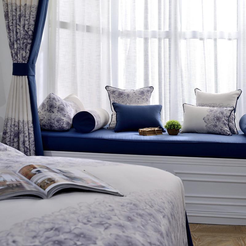 地中海风情窗台垫海绵卧室阳台垫子客厅书房榻榻坐垫定做飘窗垫