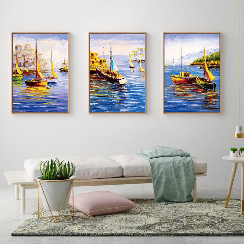 港口船只风景港湾油画装饰画印象派手绘现代简约客厅玄关竖幅油画