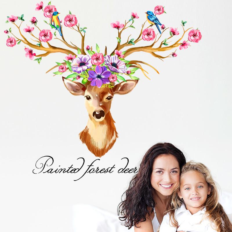 卧室沙发背景墙手绘森林鹿创意个性宿舍鹿头墙贴纸贴画自粘壁纸