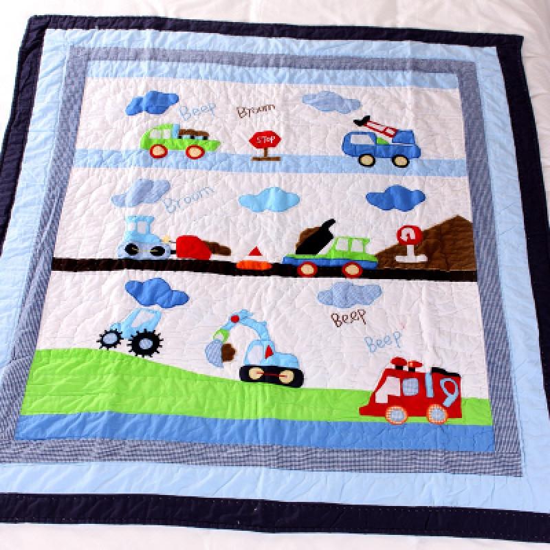 纯棉手工贴布绣儿童绗缝被卡通全棉床盖空调被幼儿园被