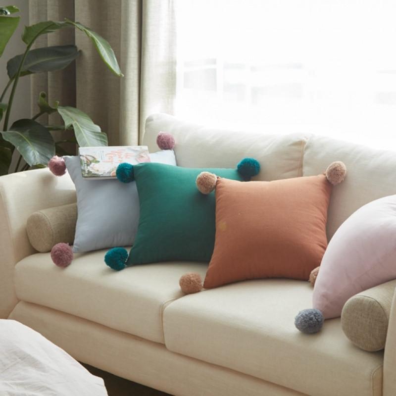 简约纯色条纹毛线球抱枕靠垫 甜美可爱沙发装饰靠垫含