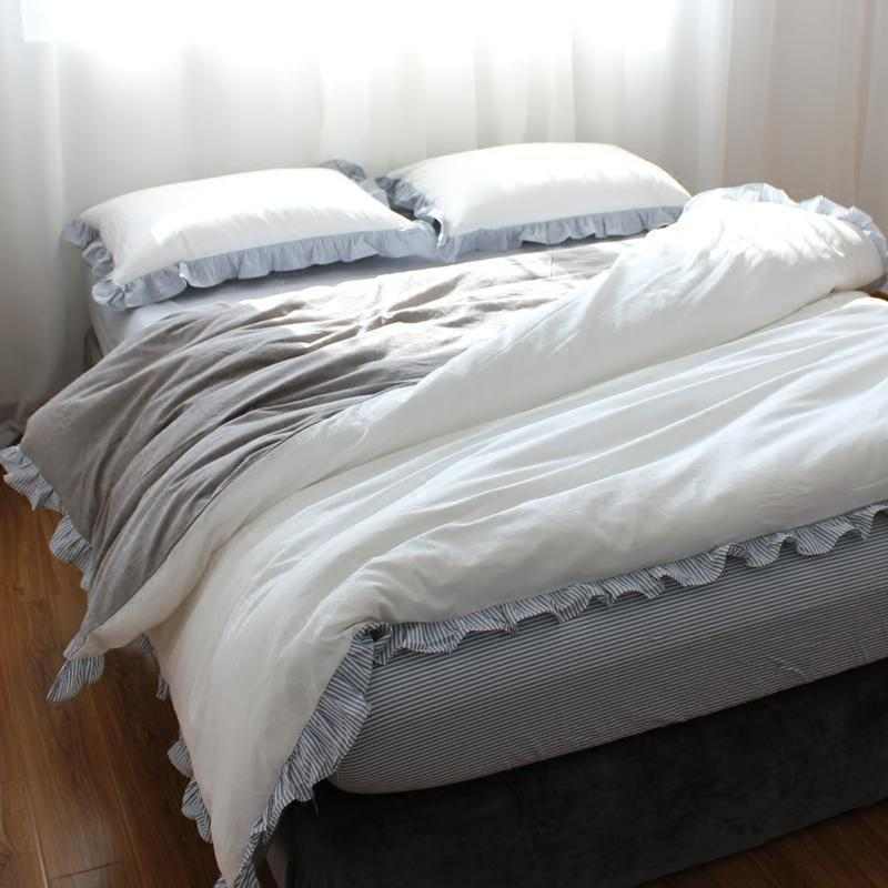 水洗棉四件套韩式荷叶花边可爱公主风全棉被套床笠床上用品