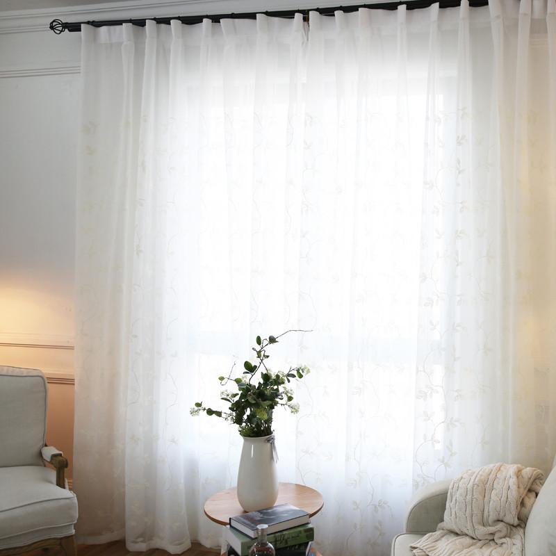 纯白 韩式刺绣绣花窗纱定制成品简约客厅卧室窗帘配纱
