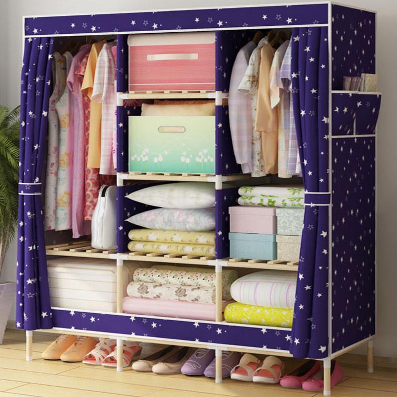 家时光 简易衣柜实木牛津布衣柜加固加粗大号组合衣橱