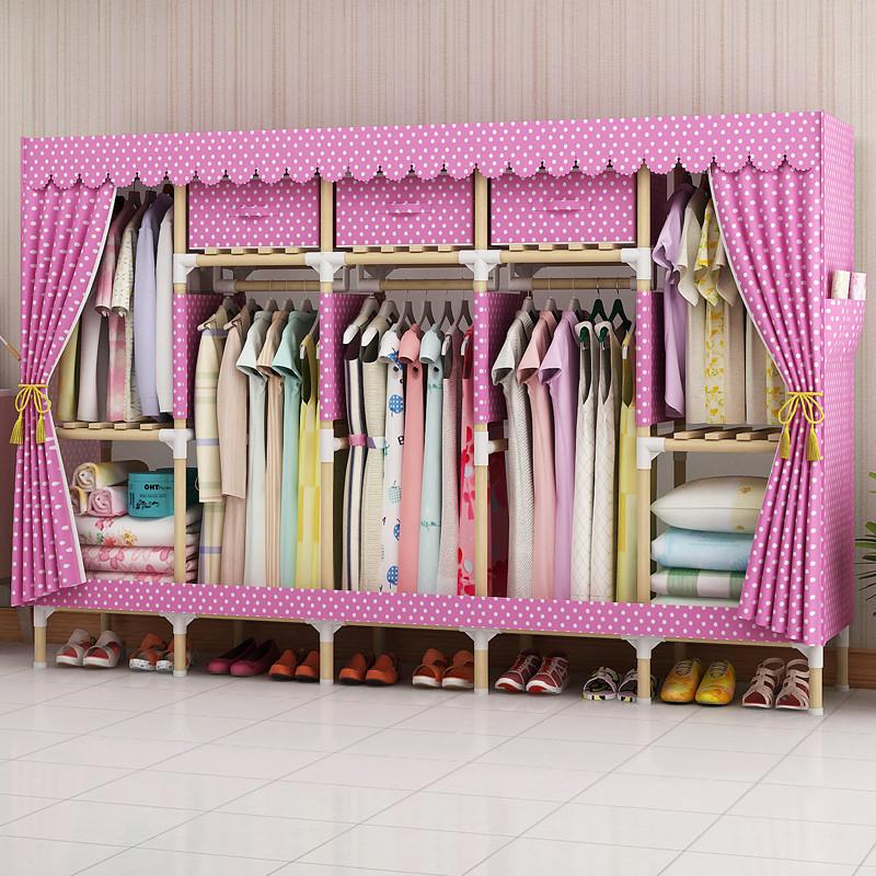家时光 简易衣柜实木布衣柜非金属2.0加粗加固木棍双人组合牛津布衣橱