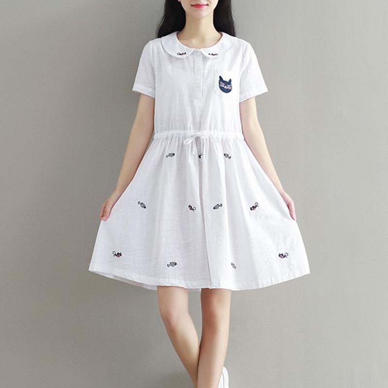 2017新款夏装新款13岁学院风可爱娃娃领连衣裙14初中学生15少女中长