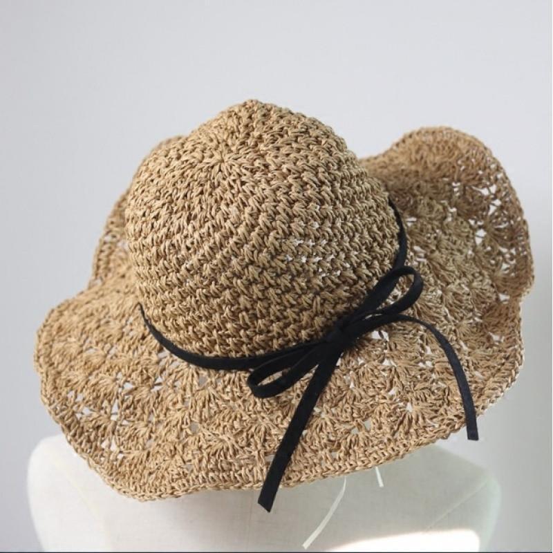 韩版大檐手工编织草帽子女夏天海边度假防晒遮阳帽沙滩帽镂空凉帽