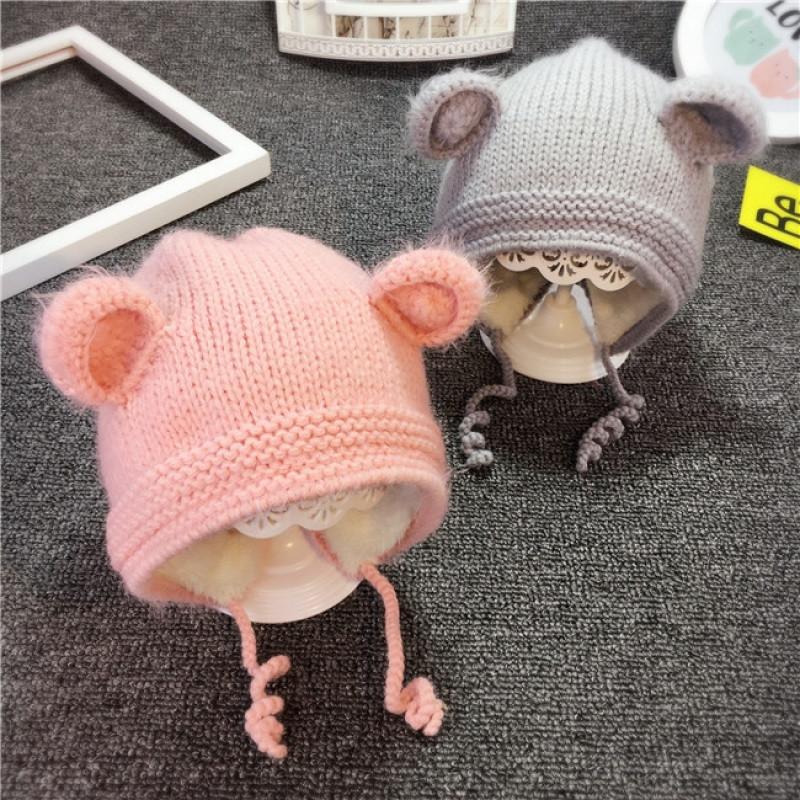 热销2017韩版秋冬儿童加绒毛线帽子婴幼儿套头帽男女宝宝加厚保暖针织