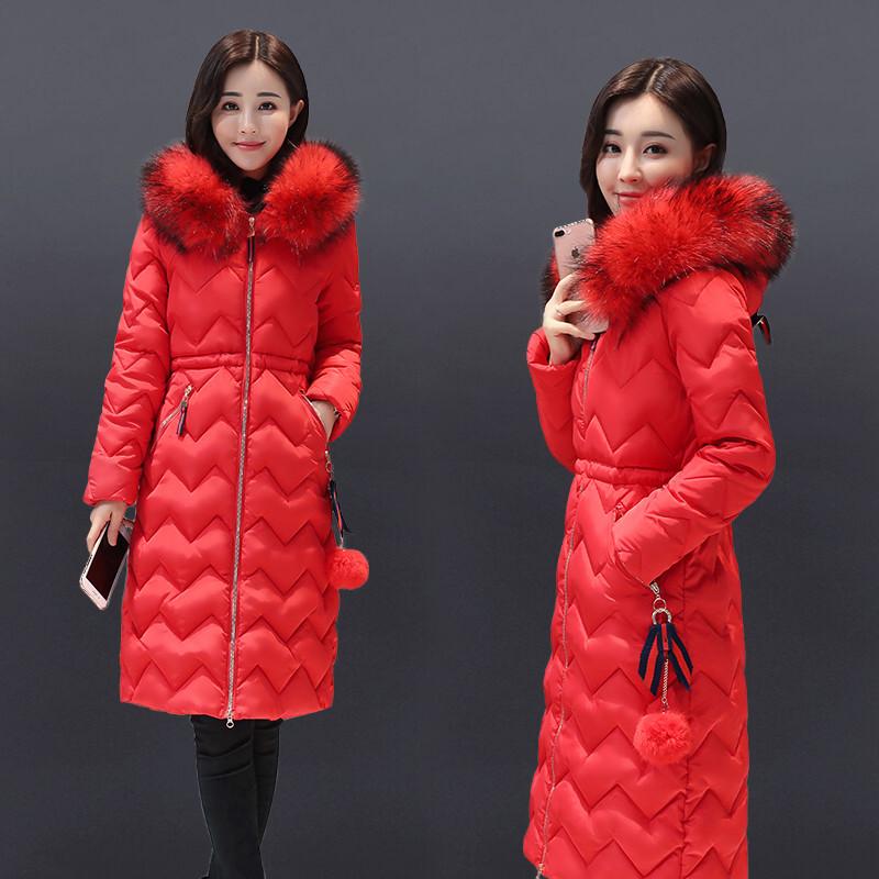 热销2017处理冬装女士羽绒棉服女中长款棉袄女2017新款韩版百搭过膝