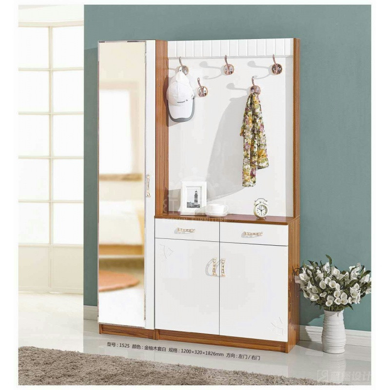 中式简约实木门厅柜衣帽柜穿衣镜组合挂衣架鞋柜带镜子玄关柜隔断