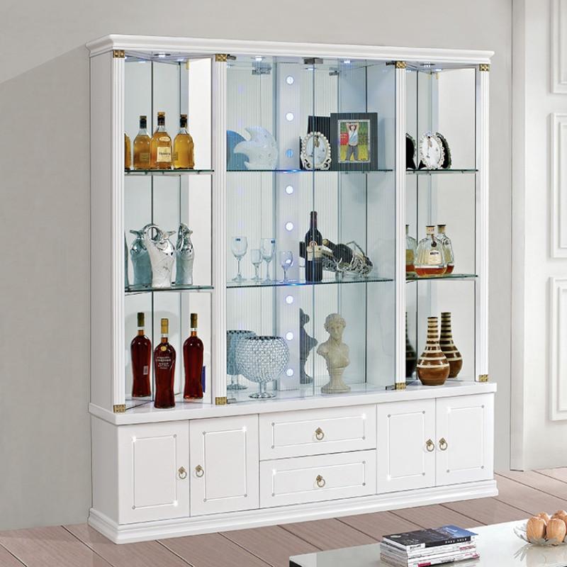 现代简约客厅玻璃酒柜角柜田园陈列柜展示柜欧式白色烤漆靠墙酒柜图片