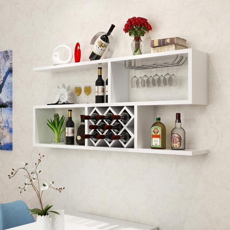 创意墙上酒架置物架装饰架悬挂酒柜壁挂现代简约餐厅吊柜红酒格子