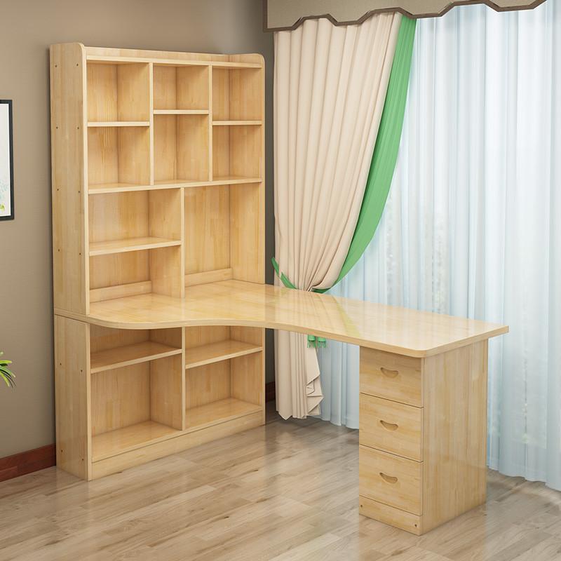 實木轉角電腦桌簡約書桌書架組合臥室兒童學習桌寫字桌辦公桌家用