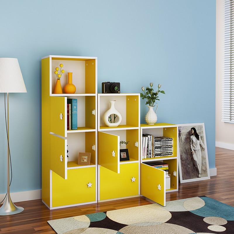 现代简约简易家用格子柜带门组合书柜书架书橱实木柜子儿童柜柜子