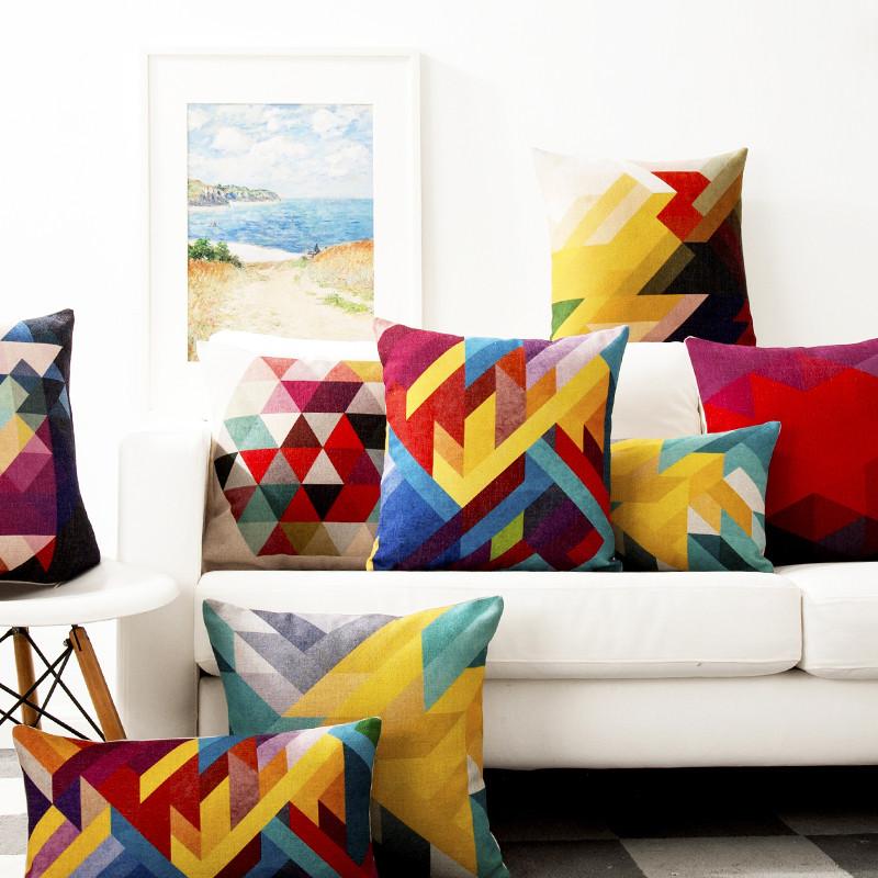 幻彩北欧几何趣文艺彩色动物汽车办公沙发靠垫套背床头椅棉麻抱枕