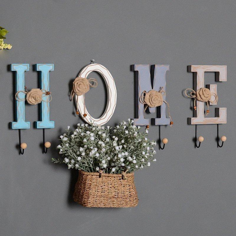 美式乡村木质字母墙面装饰挂钩家居服装店铺墙上装饰品衣帽钩壁饰